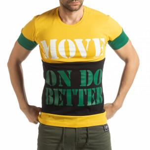 Tricou pentru bărbați Move multicolor cu galben