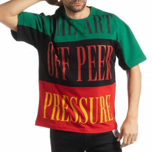 Tricou în verde, negru și roșu pentru bărbați