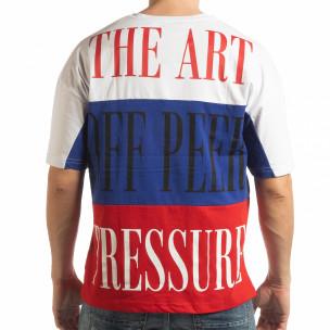 Tricou în alb, albastru și roșu pentru bărbați  2