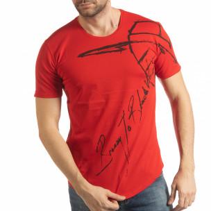Tricou pentru bărbați roșu cu inscripție