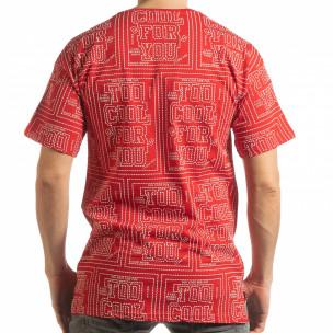 Tricou roșu pentru bărbați cu spate prelungit 2