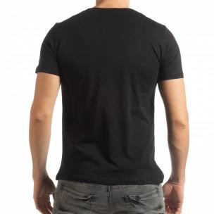 Tricou pentru bărbați negru în stil Patchwork   2