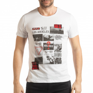 Tricou pentru bărbați alb în stil Patchwork