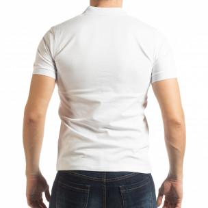 Tricou alb cu accente pentru bărbați  2