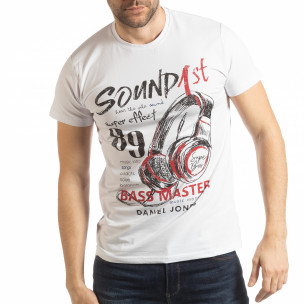Tricou pentru bărbați Sound alb