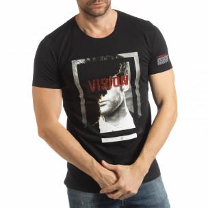 Tricou negru Vision pentru bărbați