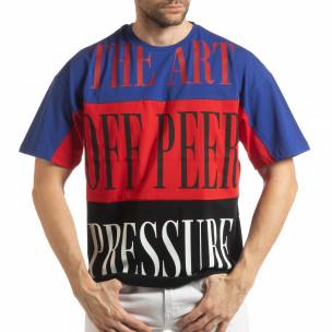 Tricou în albastru, roșu și negru pentru bărbați