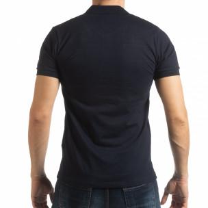 Tricou albastru marin cu accente pentru bărbați 2