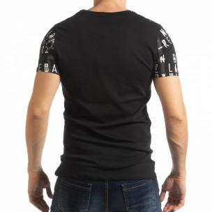 Tricou pentru bărbați negru cu inscripții  2