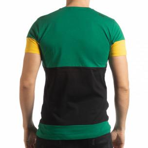 Tricou pentru bărbați Move multicolor cu verde 2