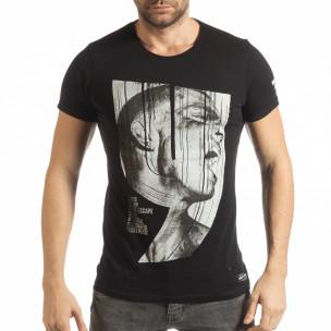 Tricou negru de bărbați cu imprimeu și inscripții