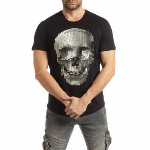 Tricou pentru bărbați negru cu craniu de cauciuc