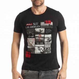 Tricou pentru bărbați negru în stil Patchwork