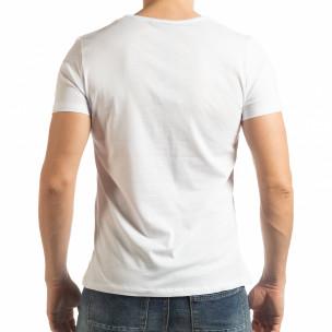 Tricou alb de bărbați cu imprimeu  2