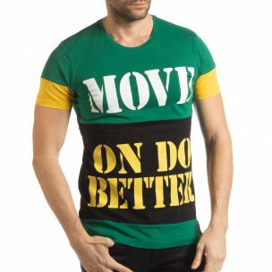 Tricou pentru bărbați Move multicolor cu verde