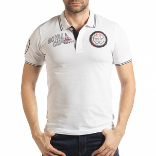 Tricou alb polo shirt Royal cup pentru bărbați