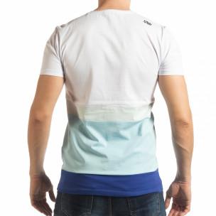 Tricou în alb și albastru pentru bărbați  2