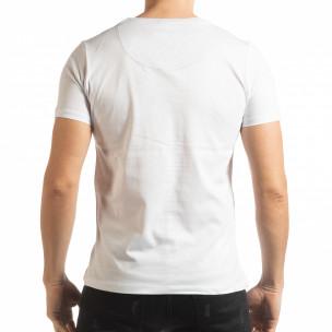Tricou pentru bărbați alb în stil Patchwork   2