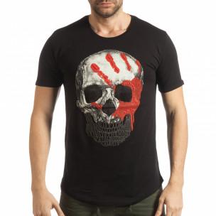Tricou pentru bărbați negru cu craniu