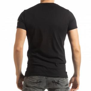 Tricou negru de bărbați cu imprimeu și inscripții  2