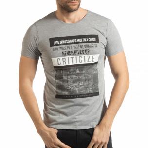 Tricou gri Criticize pentru bărbați