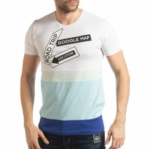 Tricou în alb și albastru pentru bărbați