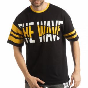 Tricou negru The Wave pentru bărbați