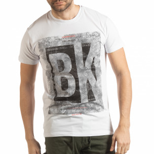 Tricou alb BK pentru bărbați