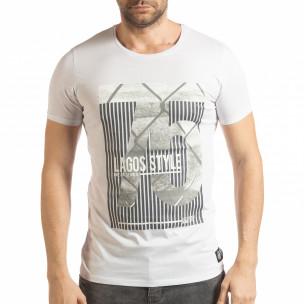 Tricou pentru bărbați alb cu imprimeu Lagos Style