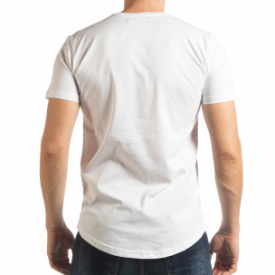 Tricou pentru bărbați alb cu imprimeu  2