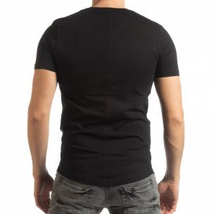 Tricou negru Basic pentru bărbați  2