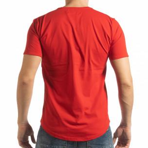 Tricou pentru bărbați roșu cu inscripție  2