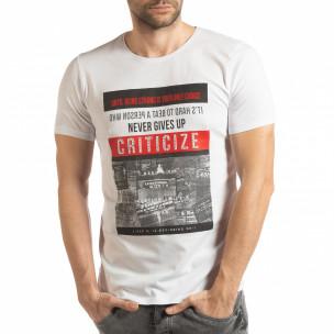 Tricou alb Criticize pentru bărbați