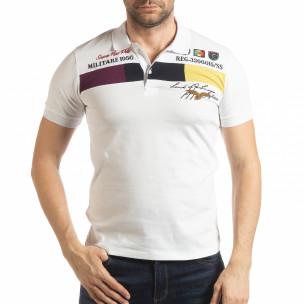 Tricou alb cu accente pentru bărbați Super New Polo