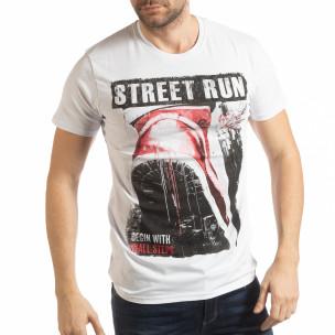 Tricou alb Street Run pentru bărbați
