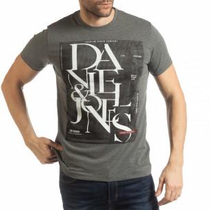 Tricou pentru bărbați Denim Company în melanj gri