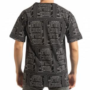 Tricou negru pentru bărbați cu spate prelungit 2