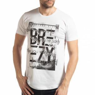 Tricou pentru bărbați alb cu imprimeu