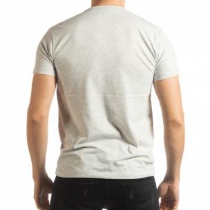Tricou în melanj gri pentru bărbați  2