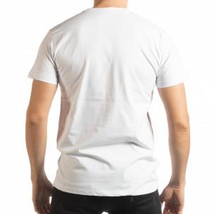 Tricou alb Enjoy Your Life pentru bărbați  2