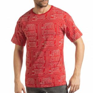 Tricou roșu pentru bărbați cu spate prelungit