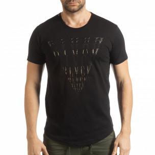Tricou negru cu imprimeu de bărbați