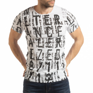 Tricou pentru bărbați alb cu inscripții