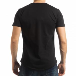 Tricou pentru bărbați negru cu imprimeu  2