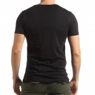 Tricou pentru bărbați negru cu imprimeu Lagos Style  2