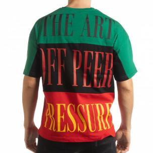 Tricou în verde, negru și roșu pentru bărbați  2