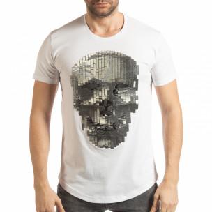 Tricou pentru bărbați alb cu craniu de cauciuc
