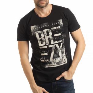 Tricou pentru bărbați negru cu imprimeu