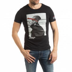 Tricou negru de bărbați cu imprimeu