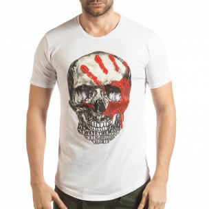 Tricou pentru bărbați alb cu craniu